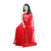 RED PURE MUSLIN SILK SHAREE